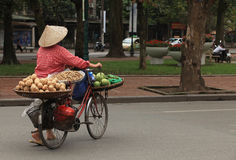 Vietnamese fruit vendor with conical hat Stock Images