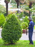 Vietnamese gardener at work Royalty Free Stock Images
