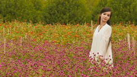 Vietnamese girl with long black hair standing in a plantation purple flowers. Vietnamese girl with long black hair standing in a plantation purple flower Royalty Free Stock Photo