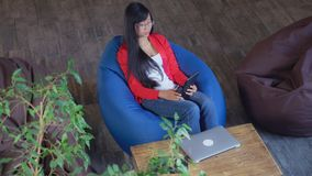 Asian woman has video call meeting with client or friend. royalty free stock images