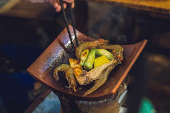 Vietnamese grill. Seafood and vegetables royalty free stock photography