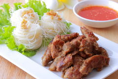 Vietnamese grilled pork vermicelli Stock Photos