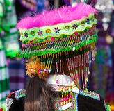 Vietnamese Hmong minority girl trying new traditional costume Stock Photos