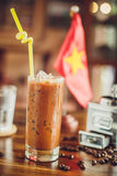 Vietnamese ice coffee with coffee beans Royalty Free Stock Images