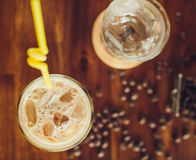 Vietnamese ice coffee with coffee beans Royalty Free Stock Image