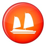 Vietnamese junk boat icon, flat style. Vietnamese junk boat icon in red circle isolated on white background vector illustration Royalty Free Stock Image