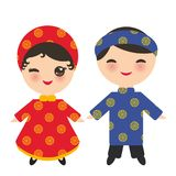 Vietnamese Kawaii boy and girl in national costume and hat. Cartoon children in traditional Vietnam dress isolated on white backgr. Ound. Vector illustration Royalty Free Stock Photos