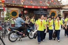 Vietnamese kids leaving class Stock Photo