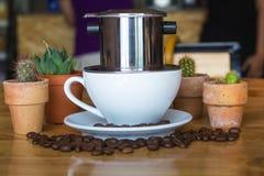 Vietnamese koffie/nadrukkop Stock Foto