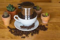 Vietnamese koffie/nadrukkop Stock Fotografie