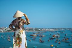 Vietnamese lady with Ao Dai Vietnam traditional dress stock photos
