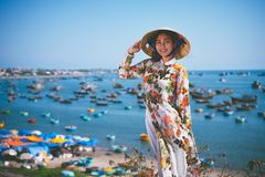 Vietnamese lady with Ao Dai Vietnam traditional dress royalty free stock images