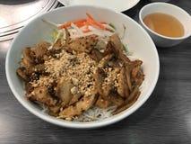 Vietnamese Lemongrass Chicken Noodle Dish Royalty Free Stock Photo