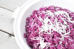 Vietnamese Magenta leaves sticky rice and slices of coconut - Xo Royalty Free Stock Photo