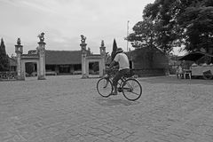 Vietnamese man cycling on a country road Stock Photos