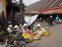 Vietnamese market. Here you can find everything: exotic fruits, vegetables, seafood or flowers stock image