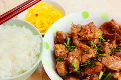 Vietnamese meal with rice and braised pork ribs stock photography