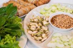 Vietnamese meatball wraps with vegetables Stock Photography