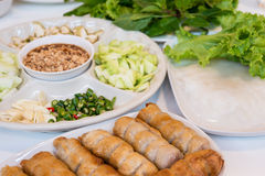 Vietnamese meatball wraps with vegetables Royalty Free Stock Photos