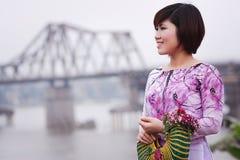 Vietnamese mensenao dai Royalty-vrije Stock Foto