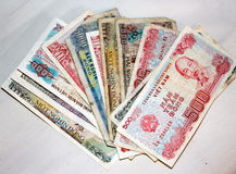 Vietnamese money Dong currency small tatty notes Stock Photos