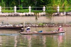 Vietnamese motorized canoe Stock Images