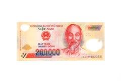 Vietnamese munt 200.000 dongbankbiljet Stock Afbeelding
