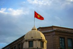 Vietnamese National Flag on top of a building.  Royalty Free Stock Photography