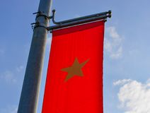 Vietnamese national flag. Against blue sky in summer day Royalty Free Stock Images