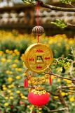 Vietnamese New Year decoration on a blurred background of yellow flowers. Hue, Vietnam Royalty Free Stock Photo