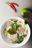 Vietnamese noodle pho bo soup overhead Royalty Free Stock Images