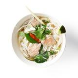 Vietnamese noodle pho soup overhead Stock Photo