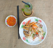 Vietnamese noodle with pork and vegetable Royalty Free Stock Photo
