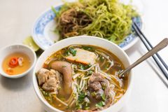 Vietnamese noodle soup Bun Bo Hue Stock Photos