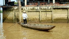 Vietnamese paddle boat lady. A Vietnamese paddle boat lady on the Meekong Delta Stock Photo