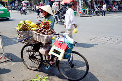Vietnamese people with Bicycle Fruit Shop Royalty Free Stock Images