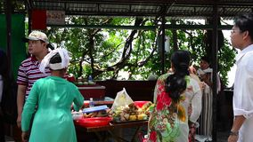 Vietnamese people preparing a traditional meal stock video