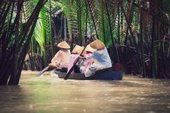 Vietnamese people on a small wooden vessel. Mekong river. stock photo