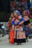 Vietnamese people wearing traditional costume in Bac Ha market, Royalty Free Stock Photography