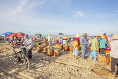Vietnamese people working at Long Hai fish market Royalty Free Stock Photography