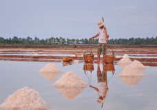 Vietnamese people working on the salt fields Royalty Free Stock Photography
