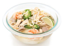 Vietnamese Pho noodle soup. Bowl of traditional Vietnamese Pho noodle soup; isolated on white background Royalty Free Stock Photo