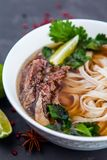 Vietnamese Pho Noodle Soup. Beef with Chilli, Basil, Rice Noodle. Pho Bo - Vietnamese fresh rice noodle soup with beef, herbs and chili. Vietnam`s national dish Royalty Free Stock Image