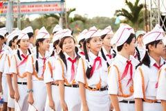 Vietnamese pioneers. Nha Trang - December 10: Vietnamese pioneers. Opening ceremony memorial Soviet Russia Vietnamese military on December 10, 2009 in Nha Trang Stock Photo