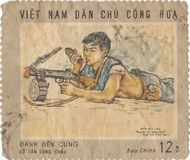Vietnamese postage stamp. With soldier stock photo