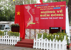 Vietnamese Poster proclaiming sovereignty of Hoang Sa islands Royalty Free Stock Image