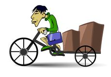 Vietnamese postman cycling with boxes Stock Photos