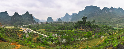 Vietnamese provinces. Panorama of the mountain village Royalty Free Stock Image