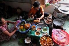 Vietnamese restaurant, rice spagheti and banh mi royalty free stock image