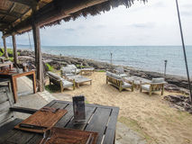 Vietnamese restaurant on the shore. With sofas in the sand, Mango Bay, Puh Quoc, Vietnam, Feb 06, 2013 Stock Images